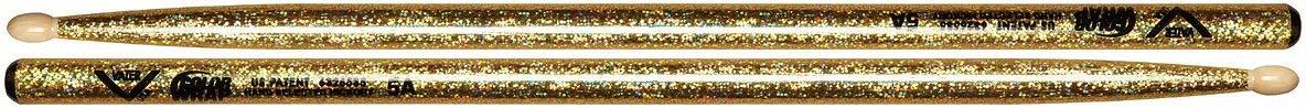 Vater Percussion Color Wrap 5A Drumsticks, Gold Sparkle, Wood Tip