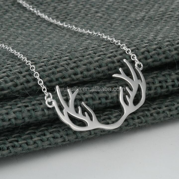 QM147 Huilin 925 Silver Antler Necklace Deer Necklace Stag Pendant Country wedding Jewelry