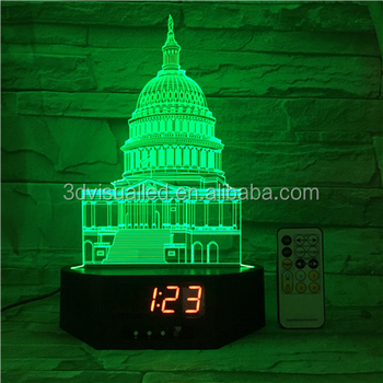 timer clock 7 color changing night lamp 3d bulbing light abstract