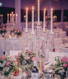 MH-1553 5 arms tall crystal candelabra crystal wedding candelabras centerpieces