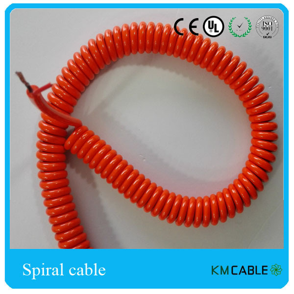 PU coated spiral cable mini electrical cable 2 wires