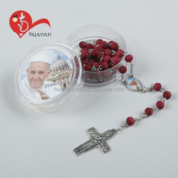 Religious wooden beads saint rosary souvenir gifts holy cross necklace