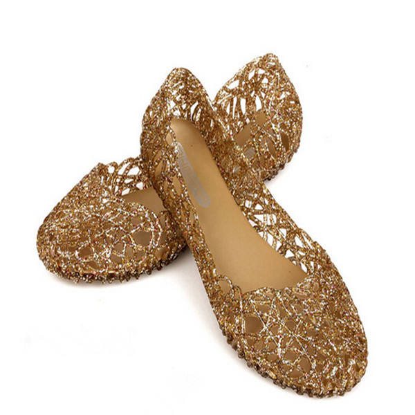 63c511da52d685 Get Quotations · summer style women shoes hollow crystal jelly none flat  candy colors ladies shoes black pink gold
