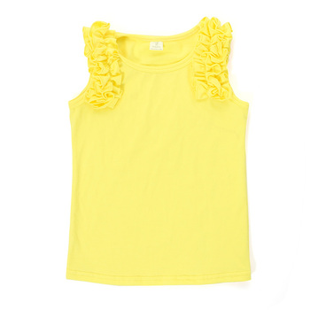 Summer solid sleeveless ruffle cotton kid baby clothing child clothes ruffle girls shirt