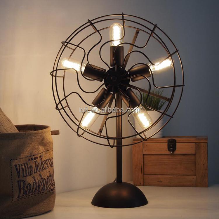 Creative Archaistic Rusty Iron Art Fan Loft Table Lamp With Edison ...