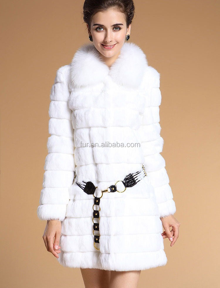 Qd11807 Genuine Sheared White Rabbit Fur Coats Women With Fox Fur ...