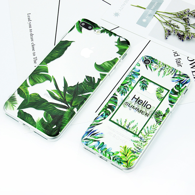 Crystal clear phone case cover custom design green leaves for iphone case transparent TPU hot sell