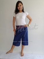 100% Thai Cotton Pregnant Pants Short Wrap Trouser Navy Blue with Thai Pattern Rim Fashion Pants