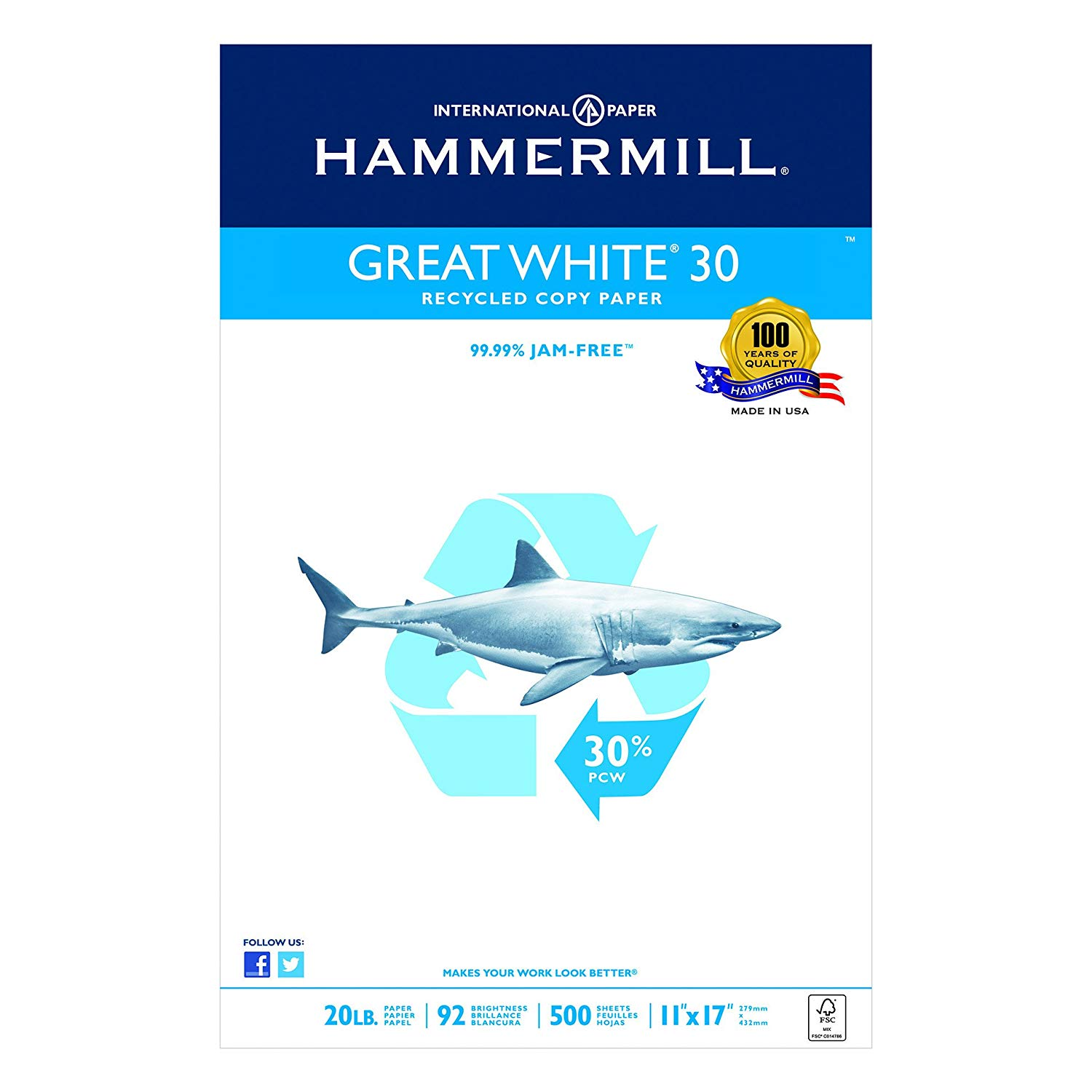 Hammermill Paper, Great White 30% Recycled Printer Paper, 11 x 17 Paper, Ledger Size, 20lb Paper, 92 Bright, 1 Ream / 500 Sheets (086750R) Acid Free Paper