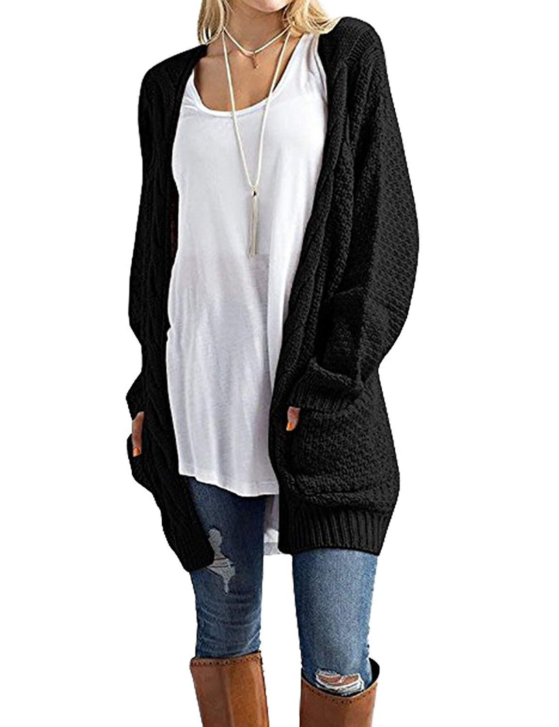 e8dbd46ae35905 Get Quotations · Tobrief Women s Long Sleeve Chunky Cable Knit Open Front Cardigan  Sweaters Outwear with Pockets