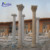 Fine workmanship hand-carving house decoration round solid threaded white stone roman pillars