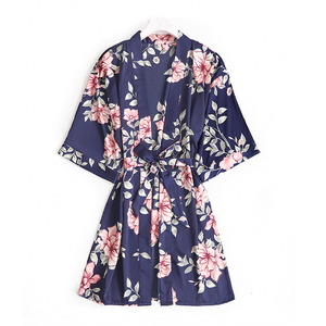 Good Quality Wholesale Fluffy Floral Satin Kimono Spa Robe For Girls Brides and Bridesmaid