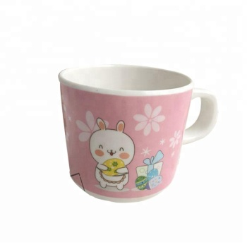 White Color with Cartoon Design Kids Melamine Milk Cup