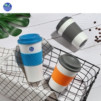 Eco-friendly logo printed 16oz plastic wholesale insulated double wall custom reusable coffee cup with lid silicone sleeve