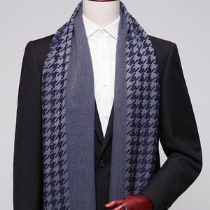 Winter Scarves for Men Shawls and Wraps Fashion Houndstooth Male Hijab Stoles Pashmina Winter Cashmere Scarves Foulard