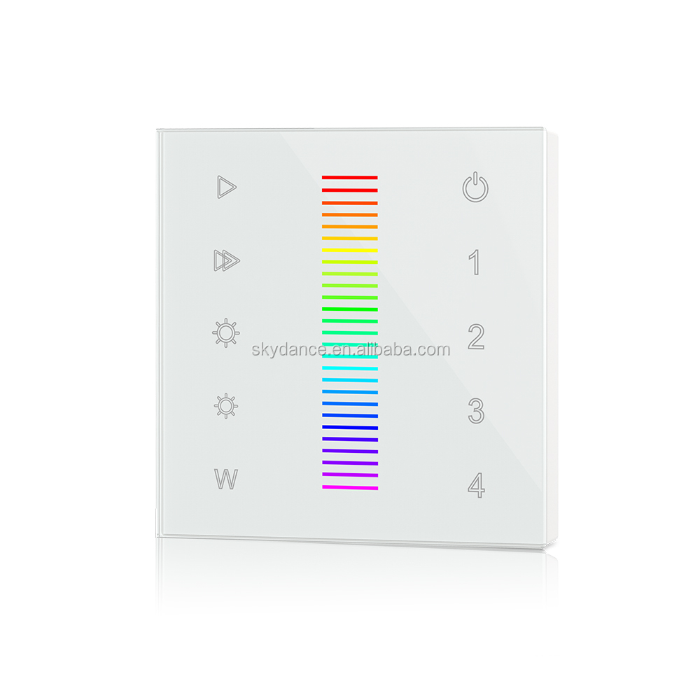 Wall Mounted Touch Panel LED RGB+RGBW 4 zones Controller with RF 2.4G Remote
