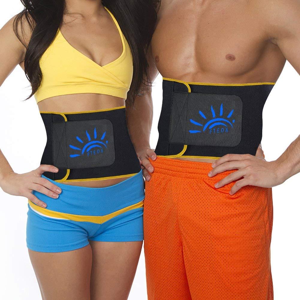 FTEOX Waist Trimmer for Women&Men,Slimming Belt Body Shaper Belt Fat Burner Belt Workout Stomach Shaper Sweet Ab Belt Waist Sweat Belt for Weight Loss with Sauna Effect