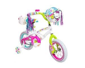 Dynacraft 8007-97ZTJ Girls Hello Kitty Bike, White/Green/Pink, 12-Inch