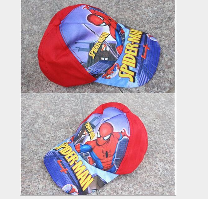 2016 Cute Lovely Cartoon Spiderman Children hat caps cartoon kids adjustable cap baseball hat sun helmet