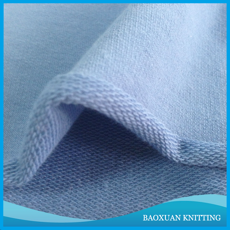 CVC 60%Cotton 40%polyester 32S lightblue looped french terry fabric knit for joggers and bottoms