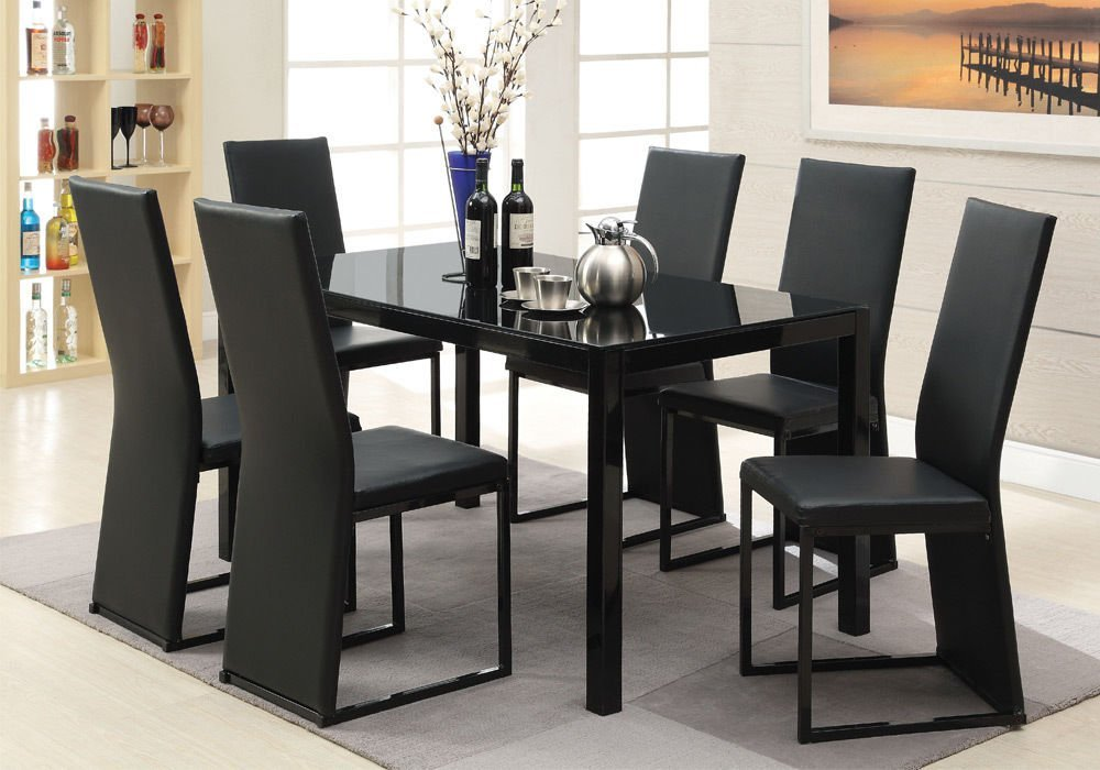 Get Quotations · 1PerfectChoice Riggan 7 Pc Casual Dining Set Black Glass  Dining Table Top PU Leahter Side Chair