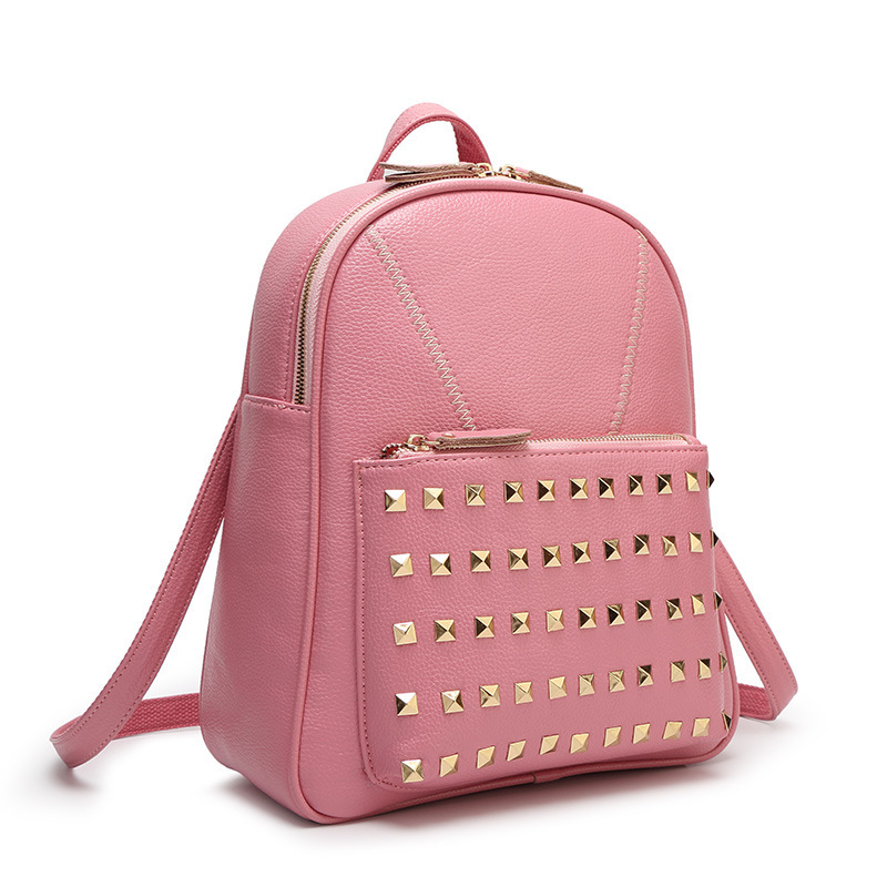 Get Quotations · Top quality woman bags,simple rivet girls backpack,leisure  vacation travel shoulder bags for 4e858498fa