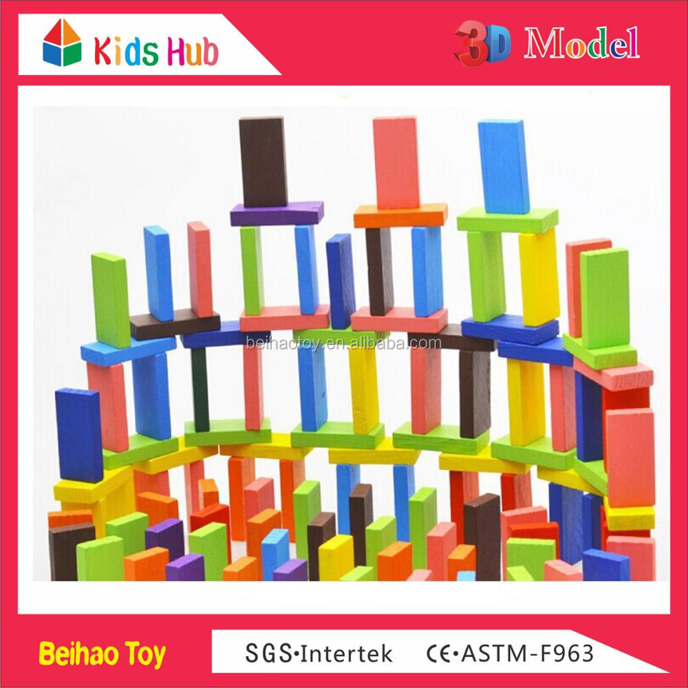 Top sale 120pcs kids bricks intellect blocks toys bright colourful wooden forest friends domino building blocks