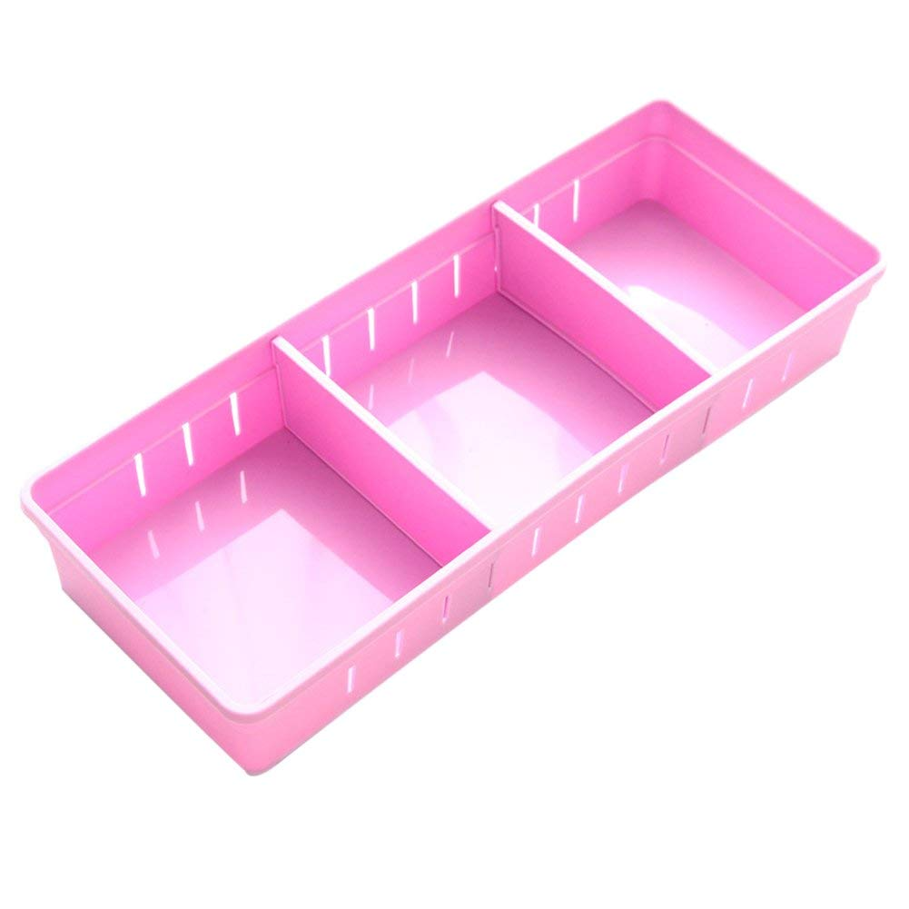 Drawer Storage Drawers Plastic Drawer Trays with Dividers for Stationery/Makeup/Cutlery(Purple, 11.8×2.9×1.9inch)
