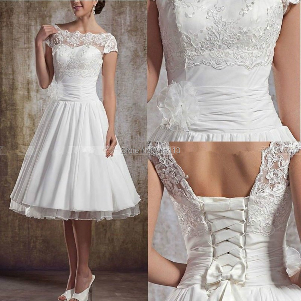 Vestido De Noiva Curto Fashionable White/Ivory A Line