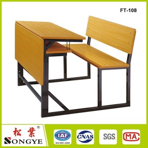 School Fixed Desk and Chair double seat school desk and bench