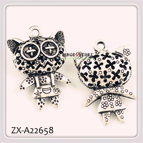3D Cute Big Face Cat Floating Charms Wholesale Bracelet Charms