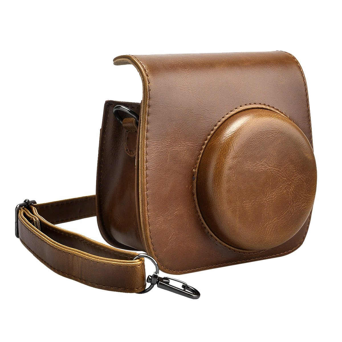SKmoon PU Leather Instax Camera Accessories Compact Case Vintage Shoulder Bag with Pocket for Fujifilm Instax Mini 8 Instant Film Camera (Brown)