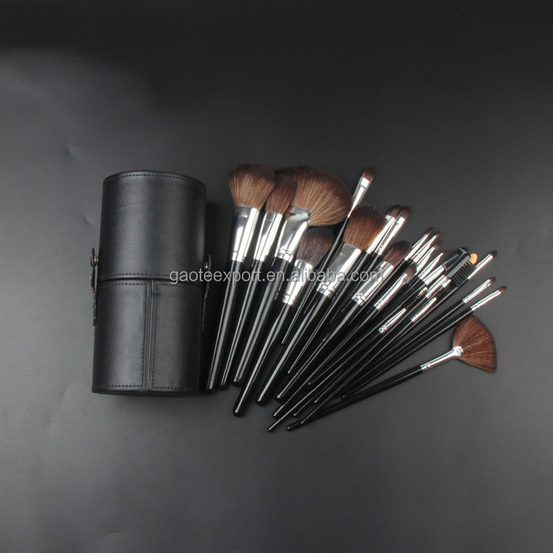 Portable Make Up Brushes Set OEM 23 Piece Makeup Brush Set Cosmetic Tool Set with Leather Barrel/Cylinder/Cup Holder Case