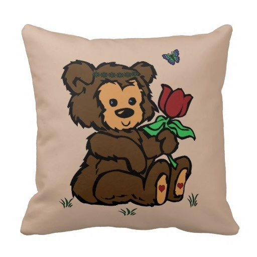 Outstanding Hippie Bear Headband Flower Butterfly Throw Pillow Case (Size: 20