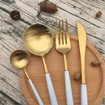 hotel supplies golden catering utensils gold white cutlery set design  stainless spoon and fork 066717565