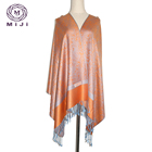 Fashion jacquard winter poncho pashmina shawl wool muslim