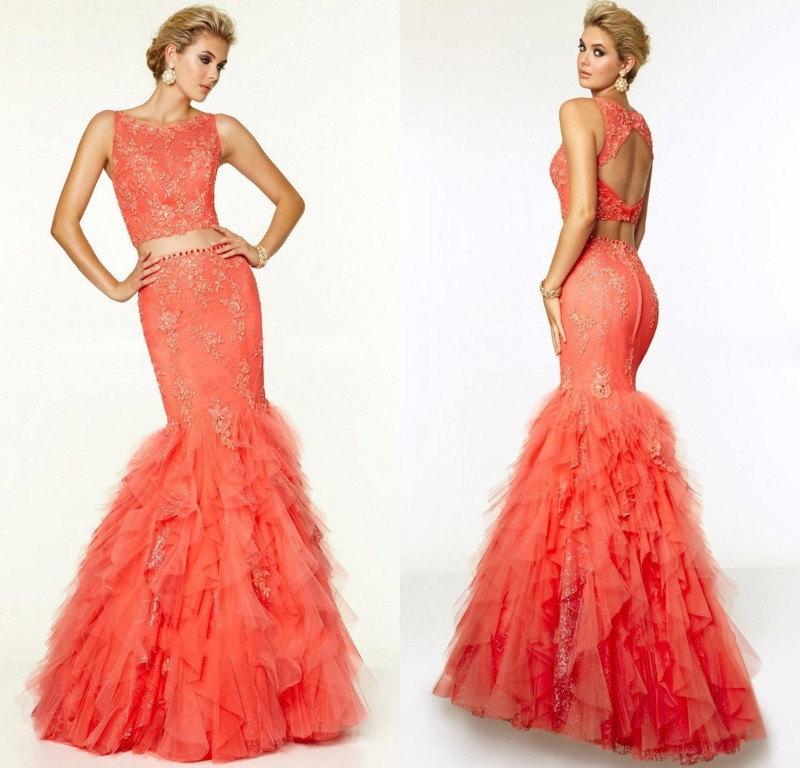 2015 Top Selling Two Piece Evening Dresses Sexy Open Back Trumpet Mermaid Prom Dress Coral Tulle Ruffled Party Gowns