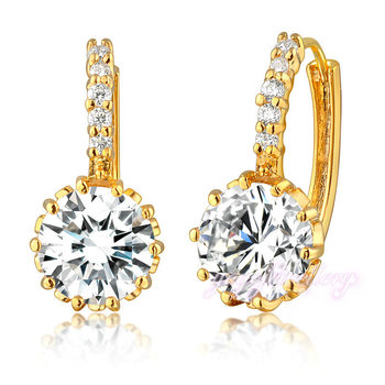 Trendy Gold Earring Single Stone Simple Stud Earring Korea