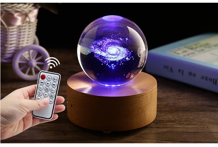Wholesale Customized Crystal K9 Glass Ball 3d Elk / Solar system glass ball 3D galaxy crystal ball for Christmas gifts