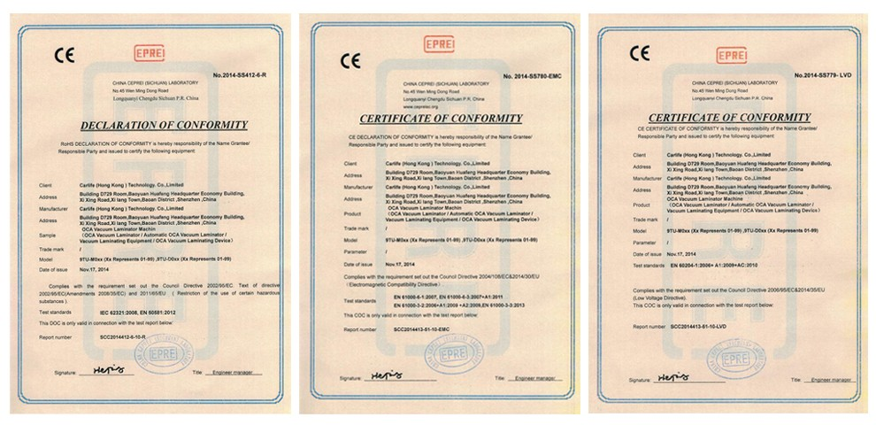 ce certification for oca machines lcd repair equipment jiutu