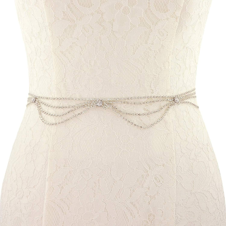 ULAPAN,Wedding Belt Sash Floral,Bridal Belt With Rhinestones,Wedding Sash With Crystal S390