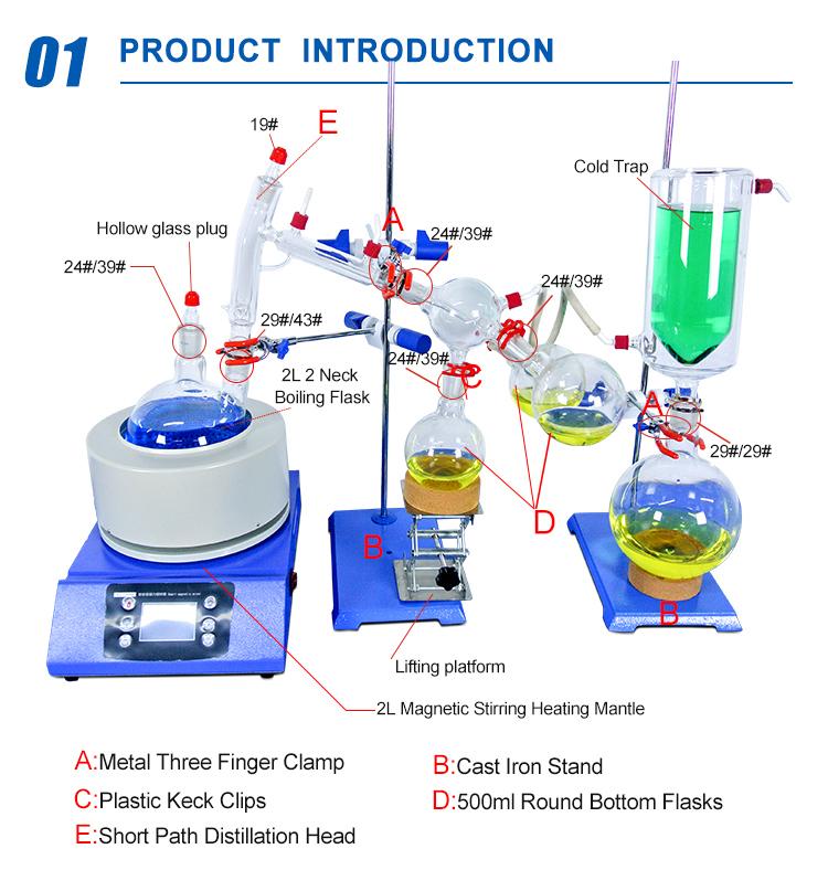 2l 5l 10l 20l Short Path Distillation With Vacuum Pump