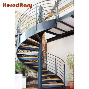 Charmant Indoors Cherry Wooden Loft Staircase Steel Structure Spiral Models Stairs