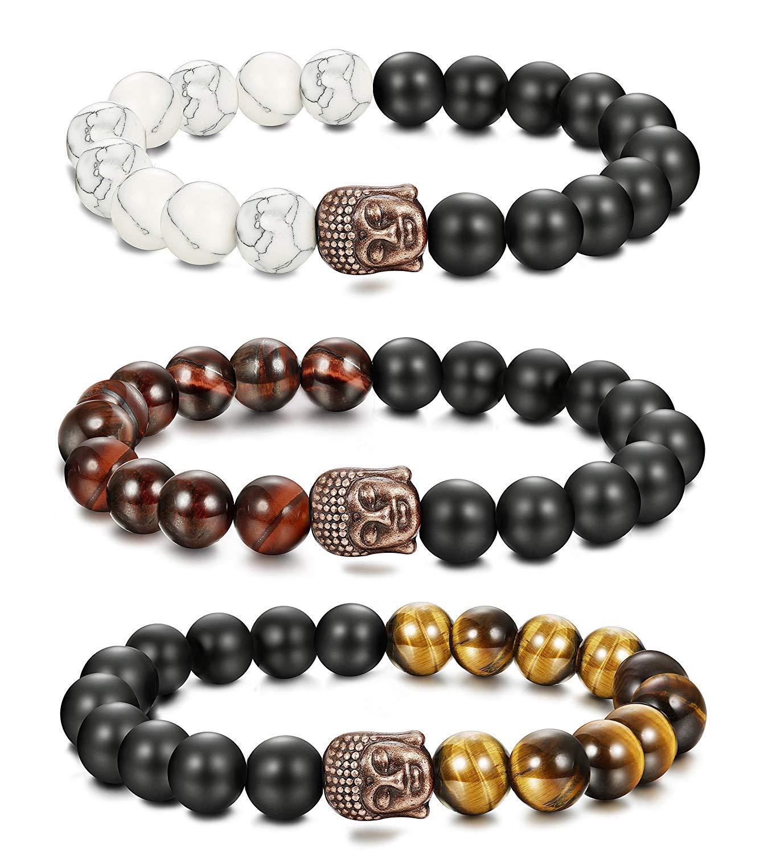 a54d4f7815 Get Quotations · Udalyn 3Pcs 10MM Buddha Bracelet Black Onyx Beaded Bangle  Handmake String Cord Chinese Knot Bracelet Set