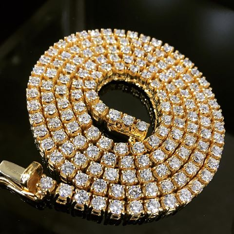 CZ Micro Paved Gold Diamond Tennis Chain Necklace for Men