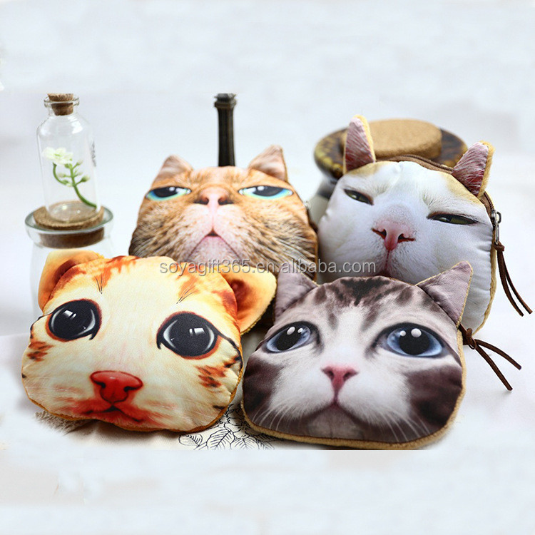 Coin Purse Wallet Women 3D Printing Cats Big Face Bag Zipper