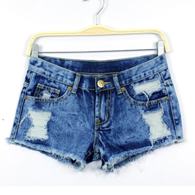 cc15ee6de9f Get Quotations · Women Casual Denim Shorts Summer Low Waist Jean Ladies Denim  Female Shorts Blue Jeans Hole Style