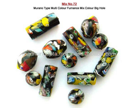 Murano type multi color furnace mix color big hole glass beads