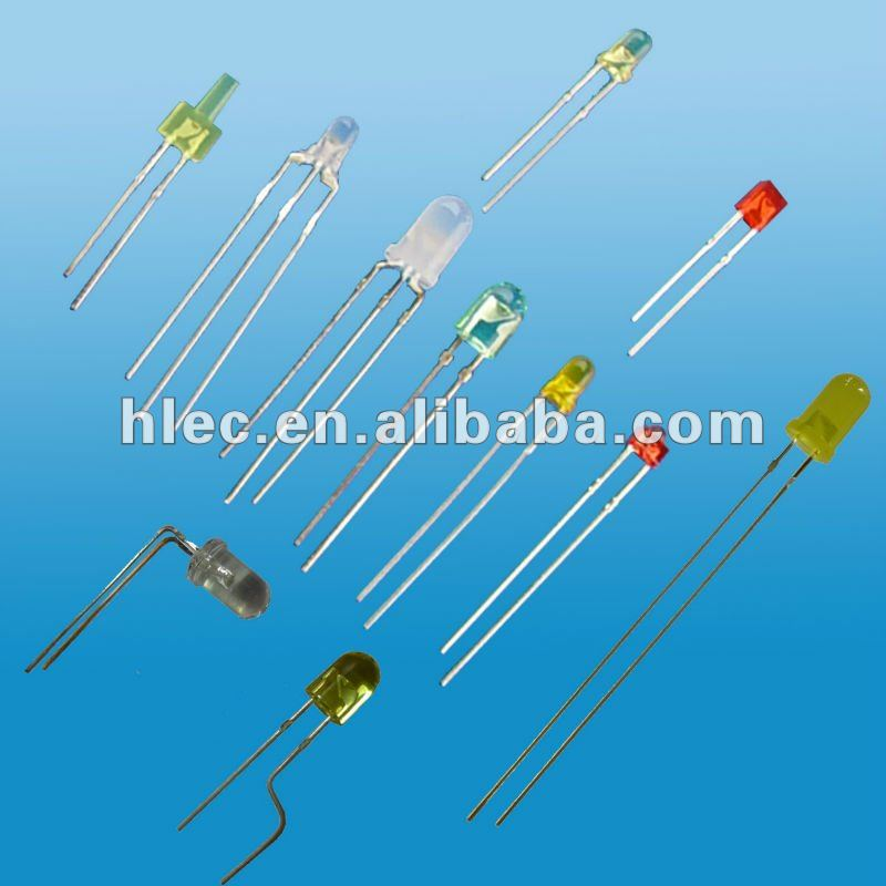 LED diode: oval, square, rectangular, stawhat, flat top, 10mm, 8mm, 4mm, 2mm, 1.8mm in many colors