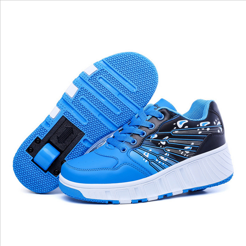 2016 New Leather Kids Adults Roller Shoes Heelys Boys Girls Sneakers With Wheels Zapatillas Con Ruedas